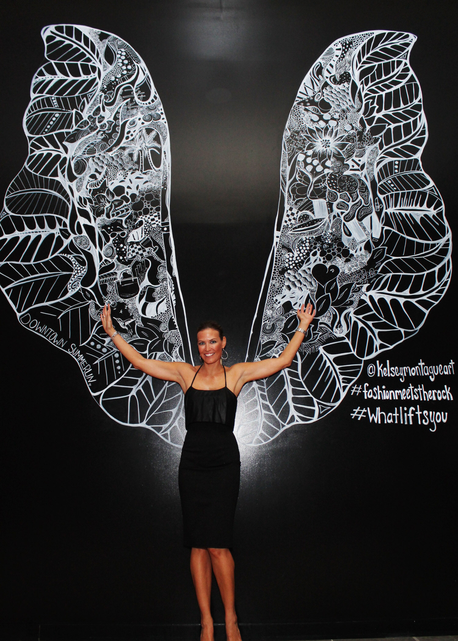 Kelsey Montague Art wings black dress