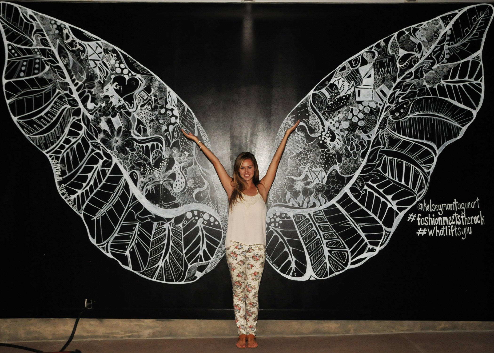 Kelsey Montague Art wings flower pants