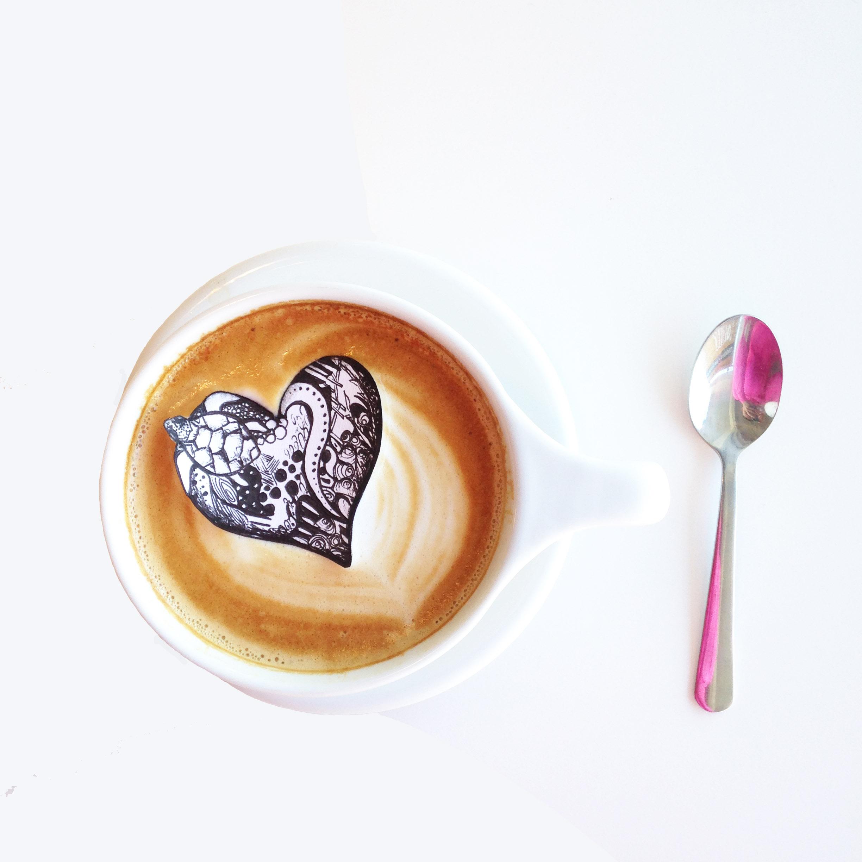 Coffee heart by Kelsey Montague Art
