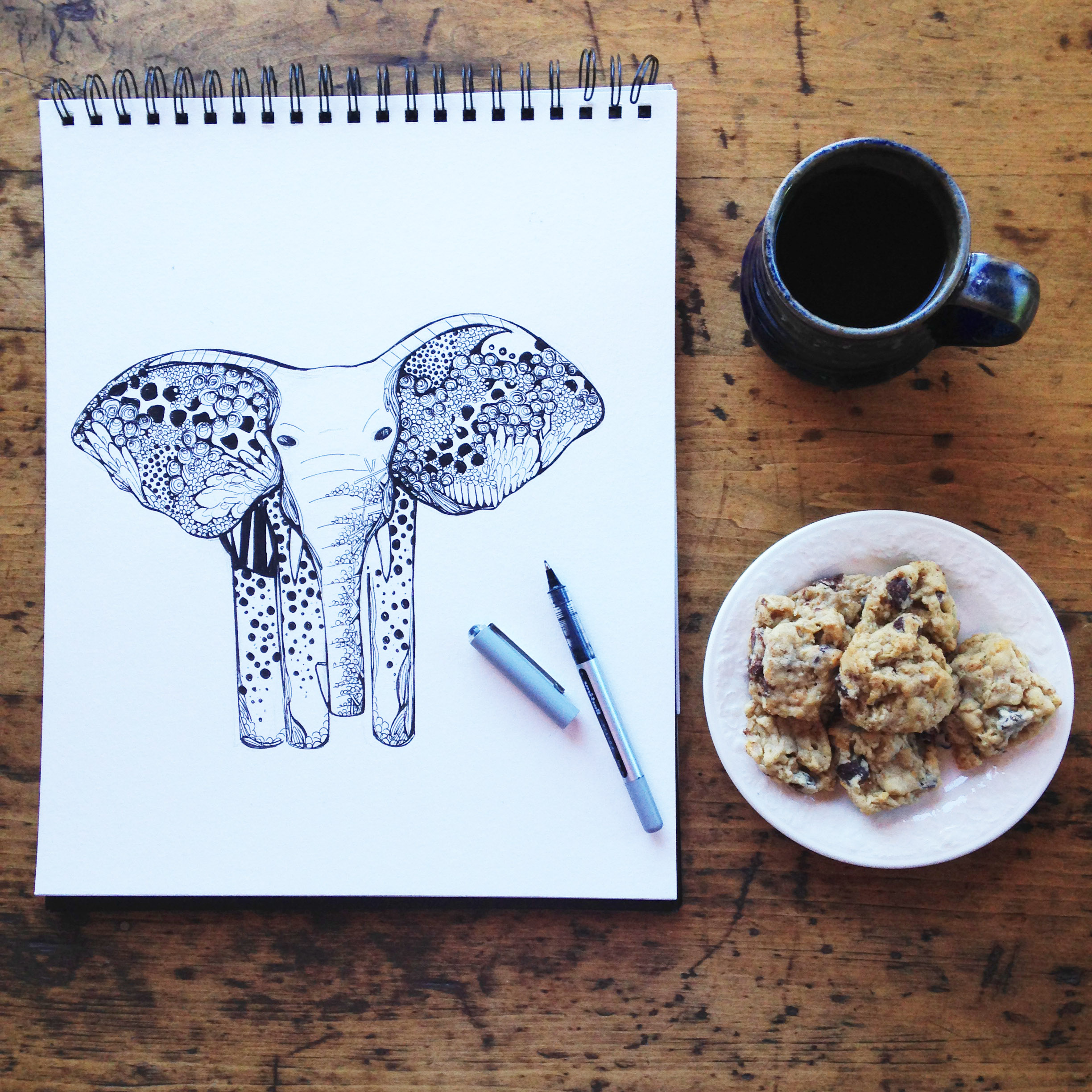 Elephant and cookies by Kelsey Montague Art