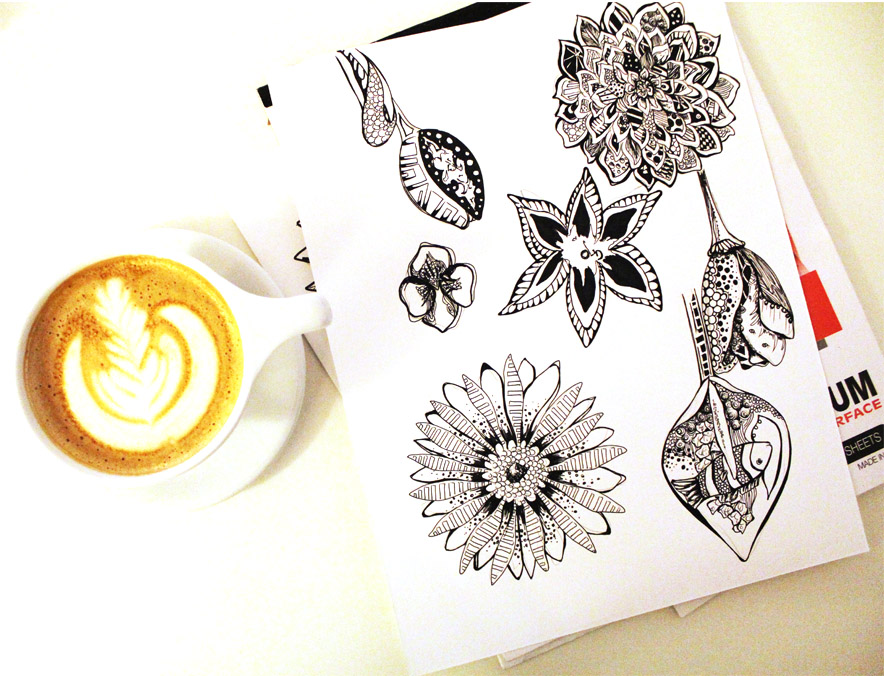Flowers in latte