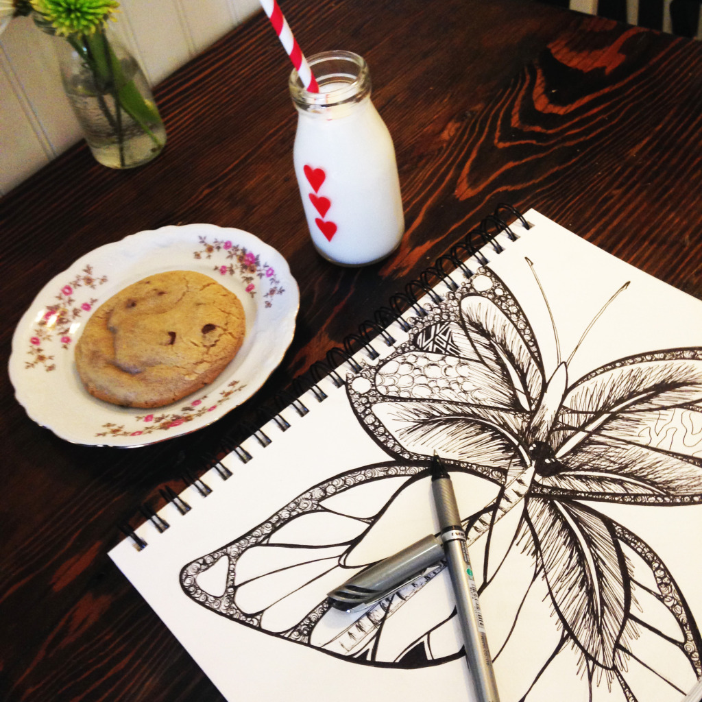 Milk Jar Cookies butterfly by Kelsey Montague Art